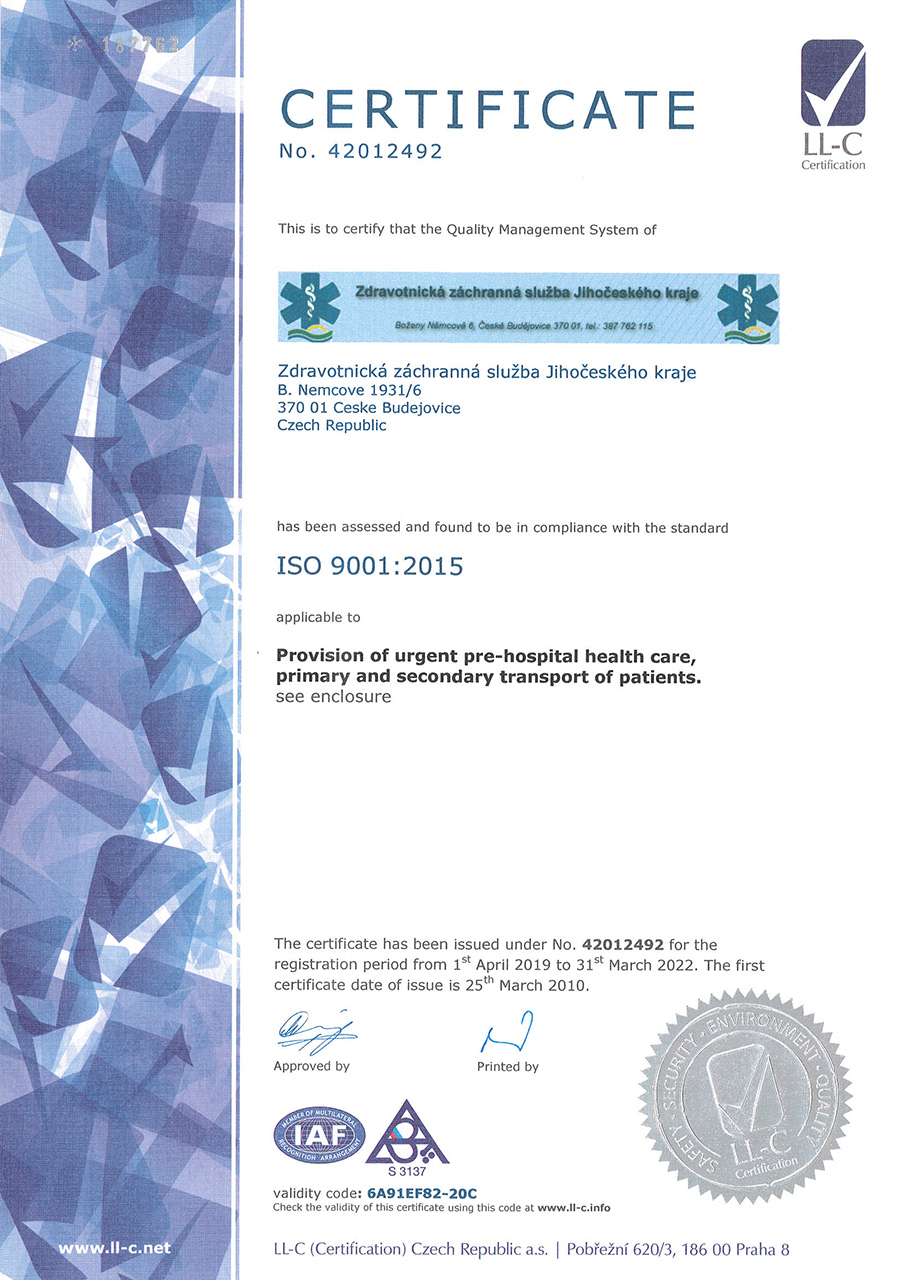 Certifikát ISO 9001:2015 (english)